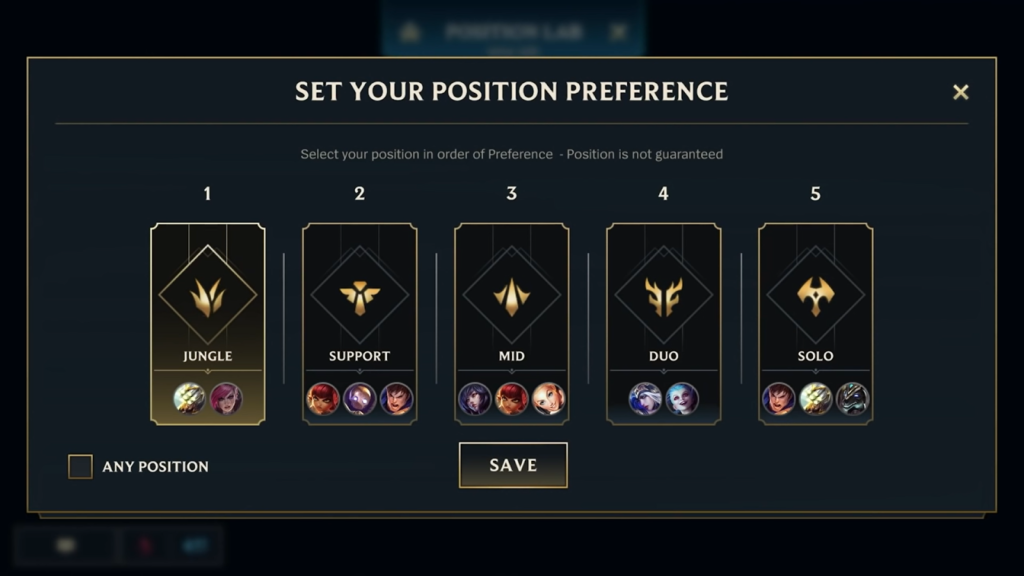 Riot Games showing the positional preference system they are currently trialling on Wild Rift.