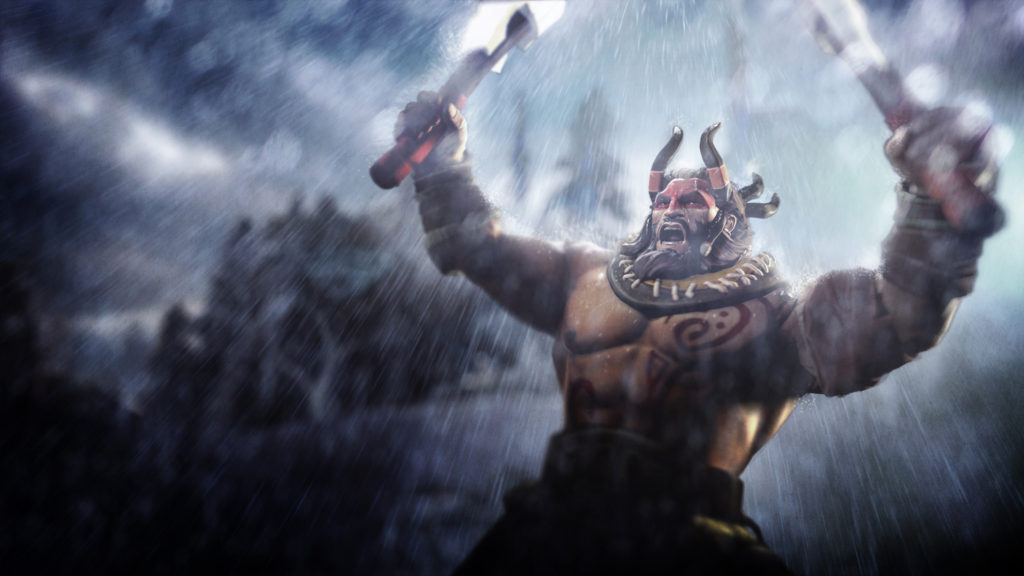 An image of Beastmaster with his arms raised. Like he is ready to cast Wild Axes