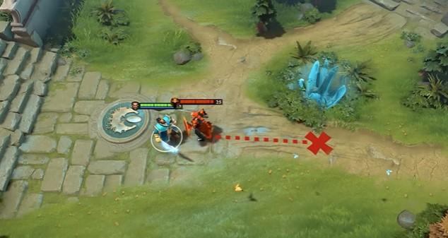 An image showing Kunkka using X-mark on Dragon Knight.