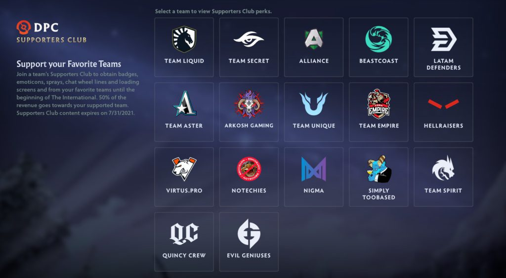 An image of the seventeen teams that have in-game content with the Supporter's Club. They include Team Liquid, Team Secret, Alliance, Beastcoast, Latam Defenders, Team Aster, Arkosh Gaming, Team Unique, Team Empire, Hellraisers, Virtus.Pro, NoTechies, Nigma, SimplyTooBased, Team Spirit, Quincy Crew and Evil Geniuses.