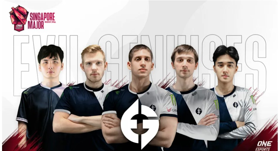 An image of Evil Geniuses members at the ONE esports Singapore Major.