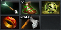 Phantom Assassin's Early Game Items: Magic Stick, Treads, Orb of Corrosion, Ring of Health and Quelling Blade.