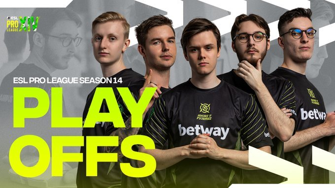 A graphic showing all five NiP players after securing their playoffs spot at the ESL Pro League Season 14.